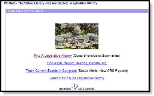 DOJ e-Legislative History Page